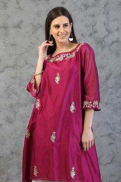 Silk Chanderi Asymmetric Kurta Set