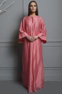 Sequin embroidered kaftan with pleat detail