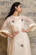 Embroidered Cotton Silk Dress