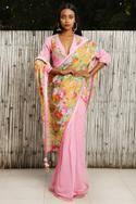 Floral printed saree with embrodiered blouse