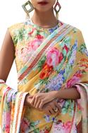 Floral printed saree with sleeveless blouse