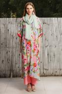 Printed Kaftan Tunic With Pant & Scarf