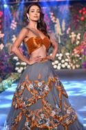 Embroidered layered lehenga set