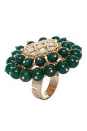 Bead studded stone ring