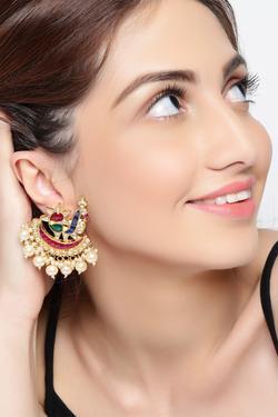 Peacock bead earrings