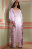 Embroidered Blouse With Kurta & Pants