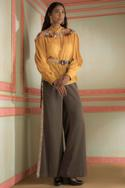Embroidered Shirt With Pant & Belt