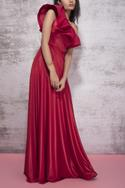 One Shoulder Ruffled Gown