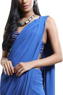 Embroidered Pre-Draped Saree with Stitched Blouse