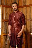 Brocade Bundi & Silk Draped Kurta Set