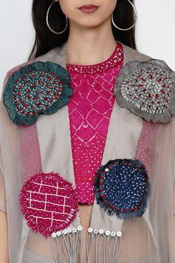 Embroidered Organza Cape