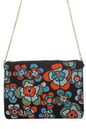 Floral Embroidered Clutch with Sling