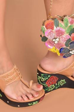 Vegan Leather Floral Wedges