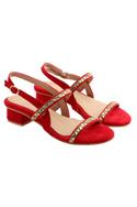 Red block heels with stone work