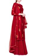 Maroon lehenga set with zardozi embroidery