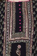 Black kurta set with block print