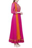 Pink anarkali set with embroidery