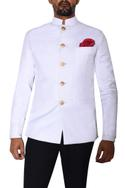 White bandhgala with metallic buttons