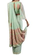 Sea green check print georgette saree with blouse