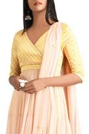 Yellow & pink anarkali with dupatta & churidar
