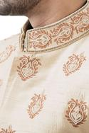 Golden raw silk pearl embroidered sherwani with trousers