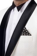 White single breast tuxedo jacket set