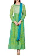 Green & blue cotton satin & georgette block print kurta with churidar & dupatta
