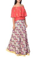 Coral red off-shoulder blouse with block printed flared skirt