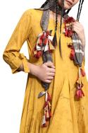 Mustard yellow cotton cowl dress with scarf
