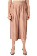 Taupe hand woven cotton silk wide legged culottes
