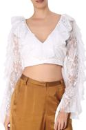 Lace v-neckline ruffle crop top