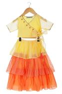 Yellow & orange tiered style skirt with wrap blouse