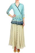 Blue wrap style tie-up blouse with flared skirt