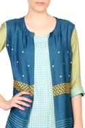 Blue tussar front open jacket with dress