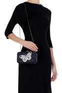 Blue butterfly patch rectangle clutch