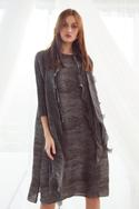Pleated Dress with Scarf