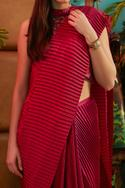 Pleated Pre-Draped Saree with Blouse