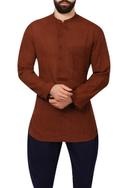 Brown band collar cotton shirt