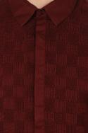 Burnt red check & pleated textured shirt