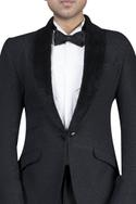 Self textured button jacket with velvet lapel, shirt, trousers and bow tie