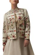 Floral embroidered short jacket with lehenga & blouse