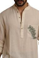 Handwoven kurta with printed pocket