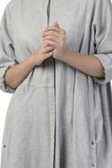 Long maxi dress with button placket