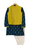 Gota Embroidered Jacket With Kurta & Churidaar