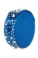 Scattered pearl embellished round clutch