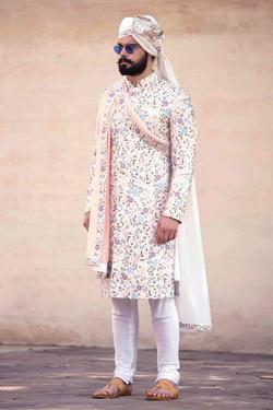 Chanderi Silk Sherwani Set