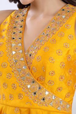 Embroidered Peplum Top & Sharara Set