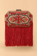 Silk Fringe Geometric Clutch