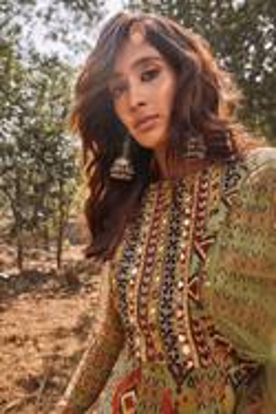 Chanderi Silk Ikat Print Anarkali Set