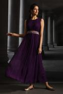 Pleated Maxi Dress with Belt